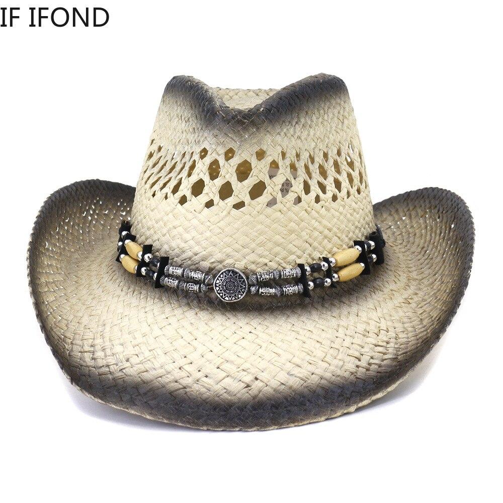 Hand Made Hollow Western Cowboy Hat  Unisex Cowboy Cowgirl Beach Sunhats Party Cap Summer Travel Straw Hat