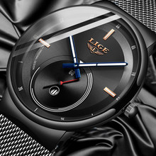 LIGE Mens Watches 2020 New Fashion Casual Black Quartz Watch Men Unique Dial Sport Waterproof Male Clock Relogio Masculino(China)