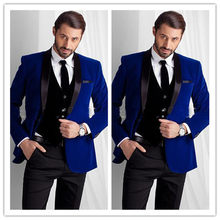 New Style Royal Blue Velvet Groom Tuxedos groommens suits One button Groom wedding suits for mens 3 Pieces(Jacket+Pant+Vest)(China)