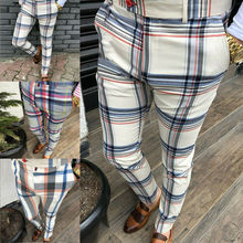 Pants Chinos Trousers Tracksuit Sweat-Track-Pants Plaid Casual Joggers Slim-Fit Bottoms