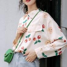 Женская винтажная рубашка deeptown милая Свободная с длинным