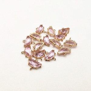 Image 5 - Neue ankunft! 16x15mm 50 stücke Kupfer mit Glas halbkreis form charme für ohrringe zubehör, Ohrring teile, schmuck machen DIY