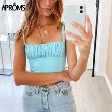 Aproms Candy Color Camis Streetwear Tube Women Summer Ruched Pleated Short Tank