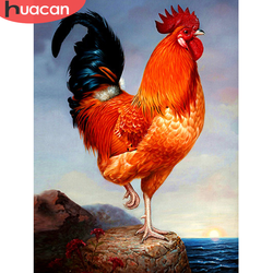 HUACAN Full Drill Square Diamond Painting 5D Cock Mosaic Home Decoration Embroidery Animal Picture Handcraft Art Kit