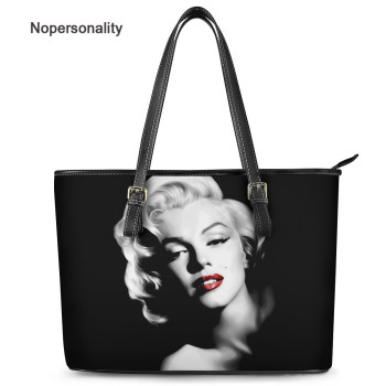 Nopersonality Brand Women Shoulder Bag Large Designer Handbags Black Leather Marilyn Monroe Print Lady Fashion Discount Tote