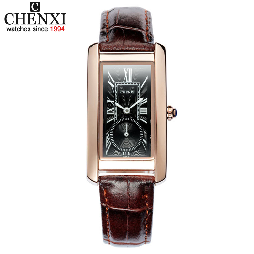 CHENXI Women Classic Square Dial Clocks Quartz-Watch Leather Strap Ladies And Wife Roman Numerals Calibration Girl Wristwatches
