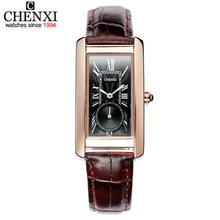 CHENXI Women Classic Square Dial Clocks Quartz-Watch Leather strap Ladies and Wife Roman Numerals Calibration Girl Wristwatches(China)