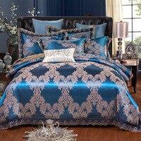 FUNBAKY 4pcs/Set Satin Jacquard Silk Luxury Bedding Sets Cotton Duvet Cover Set Bed Linen Linings Pillowcases Home Textile