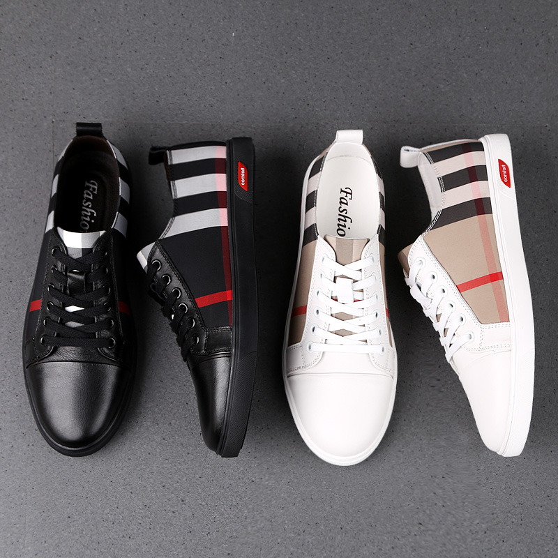 Men's Casual Shoes Comfortable Fashion Men's Shoes Leather Casual Shoes Men's Luxury Shoes Black White Shoes Canvas