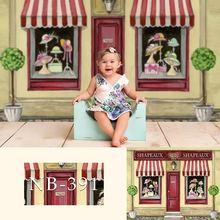 Nouveau né bébé douche photographique Photo arrière plan anniversaire Floral toile de fond photographe bonbons crème glacée rose poupées décoration