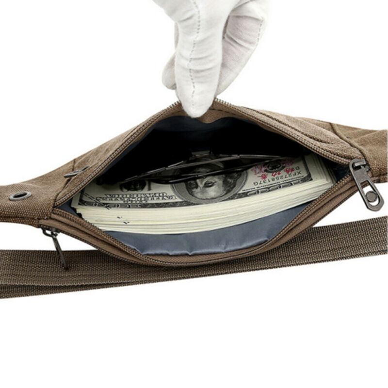 Men Canvas Fabric Waist Pack Pouch Military Bag Belt Bags Zipper Waist Pack Bag Fanny Festival Waist Belt Pouch Pack Bum Bag