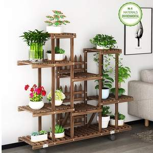 Flower Rack Plant Stand Multi Wood Shelves Bonsai Display Shelf Indoor Outdoor Yard Garden Patio Balcony Stands