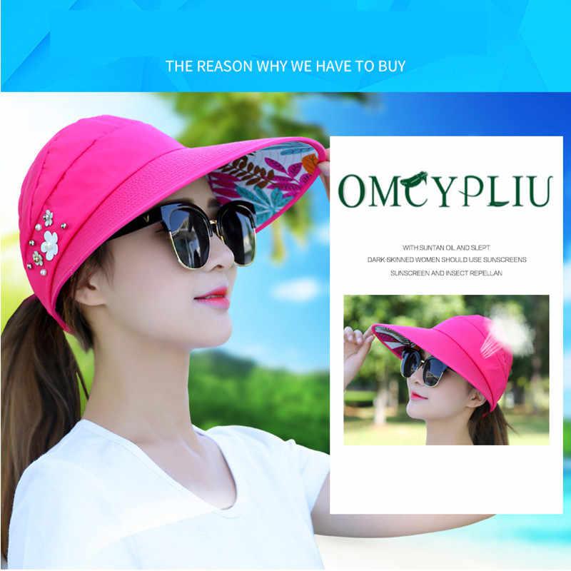 قبعات للحماية من الشمس للنساء أقنعة قبعة الصيد فيشر قبعة للشاطئ UV غطاء للحماية الوردي السيدات عادية 2020 الصيف قبعات جديدة ذيل حصان واسعة