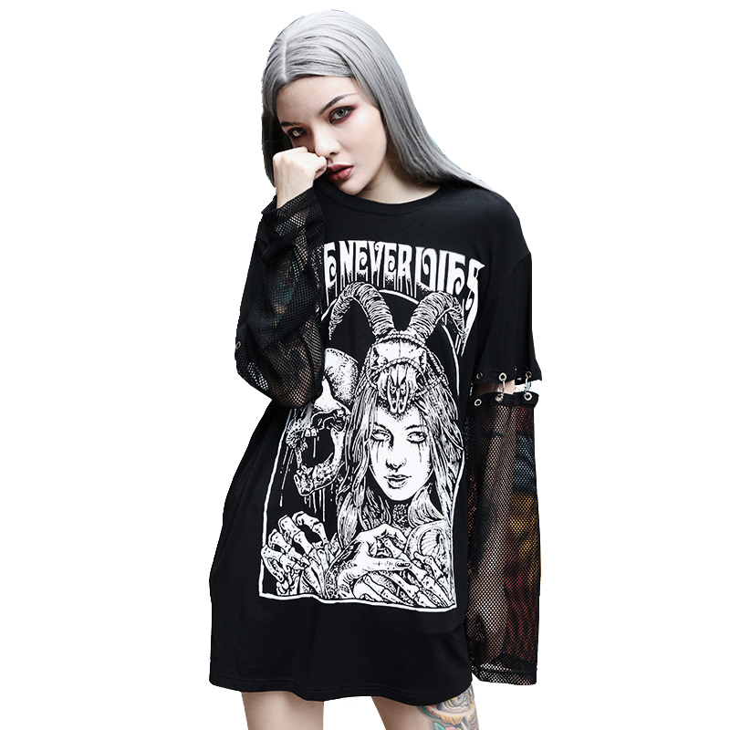 <font><b>Gothic</b></font> Tops 2019 Autumn Harajuku Dark Style Print Detachable Long-sleeved Stitching T-<font><b>shirt</b></font> <font><b>Sexy</b></font> Mesh Fashion <font><b>Women's</b></font> Clothing image