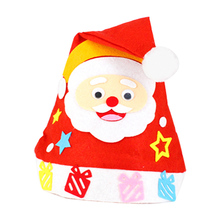 10 Pcs Kids Handmade Diy Christmas Hat Non-Woven Santa Snowman Christmas Party Cosplay Hat Gifts Children New Year Xmas Gift