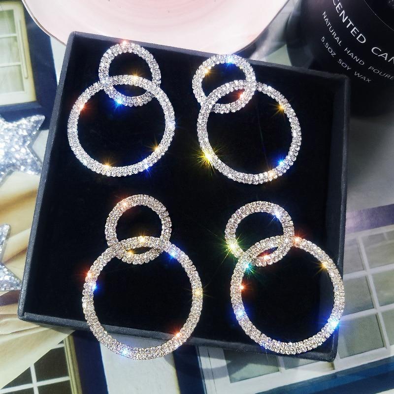 Hot Sale Round Flower Drop Earrings 2020 Elegant Luxury Crystal Acrylic Heart Earing Wedding Jewelry Valentine's Day Bride Gift