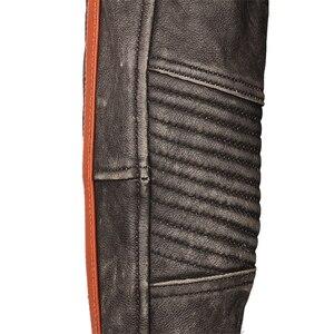 Image 4 - Мотоциклетная кожаная куртка с вышивкой черепов, винтажная Байкерская кожаная куртка из 100% натуральной воловьей кожи, зимняя мотоциклетная одежда M220