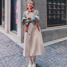 Coat Windbreaker Trench Patchwork Autumn Women Fashion Double-Breasted LANMREM Mid-Length
