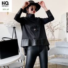Herbst Neue Frauen Chiffon Patchwork Schaffell Echtes Leder Oberbekleidung Tops Lose Fit Rollkragen Jacke Unregelmäßigen Casual Mäntel(China)