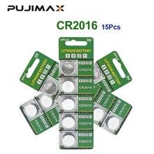 Pujimax original 15 pcs bateria de lítio pçs/lote 3 v li ion cr2016 botão bateria relógio moeda baterias cr2016 dl2016 ecr2016 gpcr