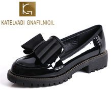 KATELVADI Uniform Shoes Black Patent PU Leather Round Toe Women Girls School Students Lolita Cosplay Rubber Sole K-478