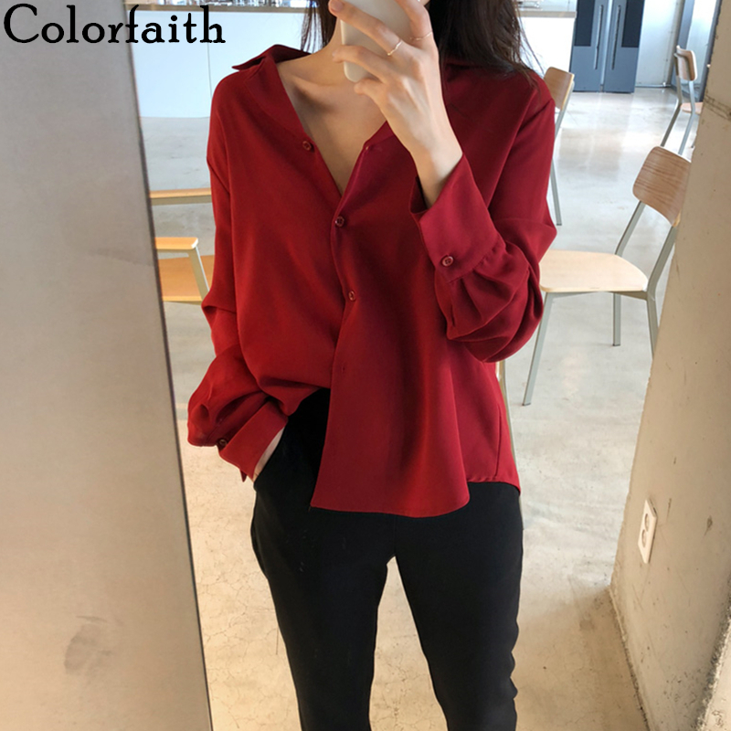 Colorfaith New 2020 Women Spring Summer Blouse Shirts Fashionable Single Breasted Sexy Casual Loose Office Lady Wild Tops BL1838