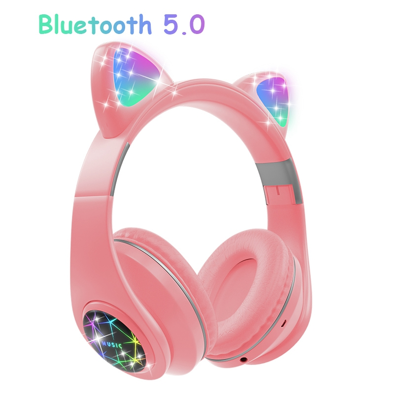Cute <font><b>Cat</b></font> <font><b>Bluetooth</b></font> <font><b>Headphone</b></font> With Microphone Colorful LED Cosque Girls Music Cascos For Huawei iPhone Xiaomi Children Kids Gifts image