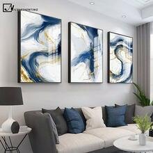 Blauw Gouden Abstracte Grafische Art Canvas Schilderij Luxe Stijl Poster Eenvoud Hedendaagse Wall Picture Home Decoration