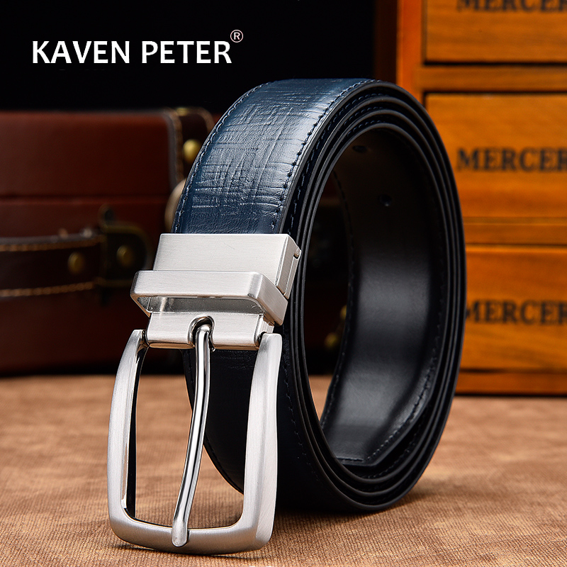Reversible Belts For Men Genuine Leather For Male High Quality Formal Belt Black Brown Navy Blue