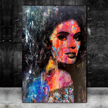 Abstract Woman Graffiti Art Canvas Paintings On the Wall Art Posters And Prints Modern Art Canvas Picture For Living Room Cuadro graffiti art colorful rain prints on canvas modern canvas painting wall art posters and prints for living room home decoration