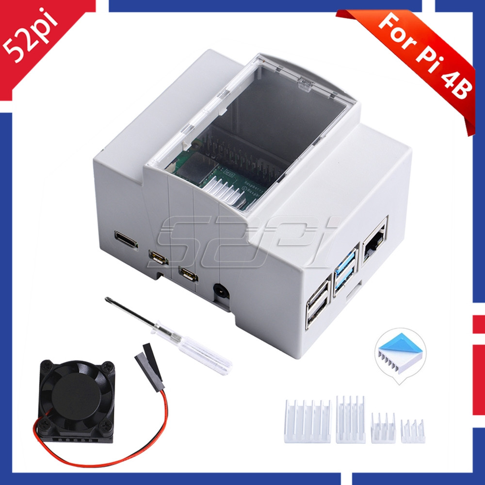 52Pi ABS Electrical Box Plastic Case For Raspberry Pi 4 Model B, With Cooling Fan Heatsinks Screwdriver For Raspberry Pi 4B