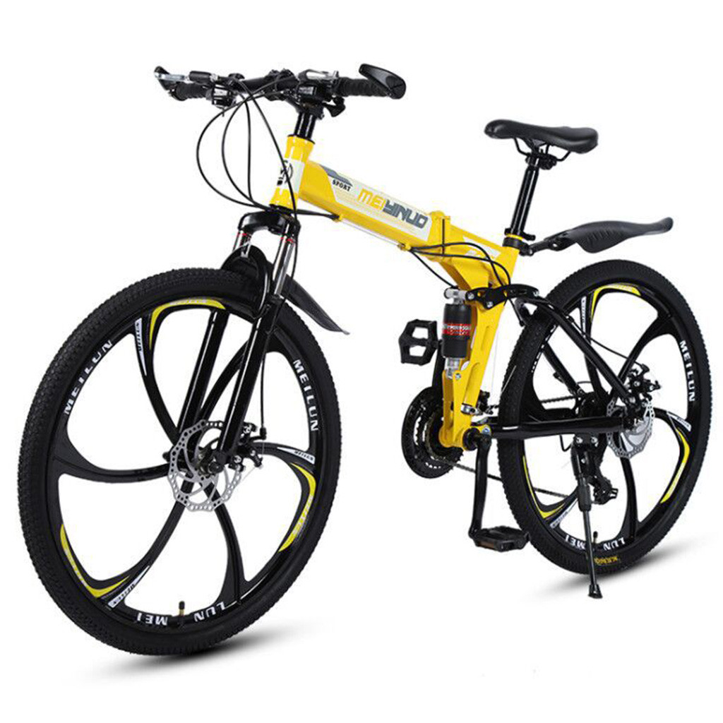 26 Inch High Carbon Steel Mountain Bike 21 Speed Lightweight Folding Bike Road Bicycle Adult Student Front And Rear Disc Brakes image