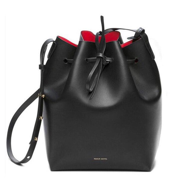 Women Real Leather Bucket Bag Genuine Leather Shoulder Bags Women Gavriel Leather Handbag Mansur Lady Crossbody Handbag Totes
