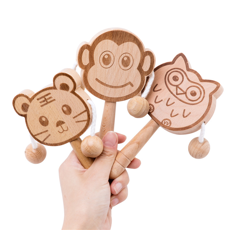 1Pcs Baby Toys Beech Wooden Rattle Teethers Baby Chew Toys Handmade Baby Rattles Beech Rattle As Baby's Birthday Gift 2020 Newly
