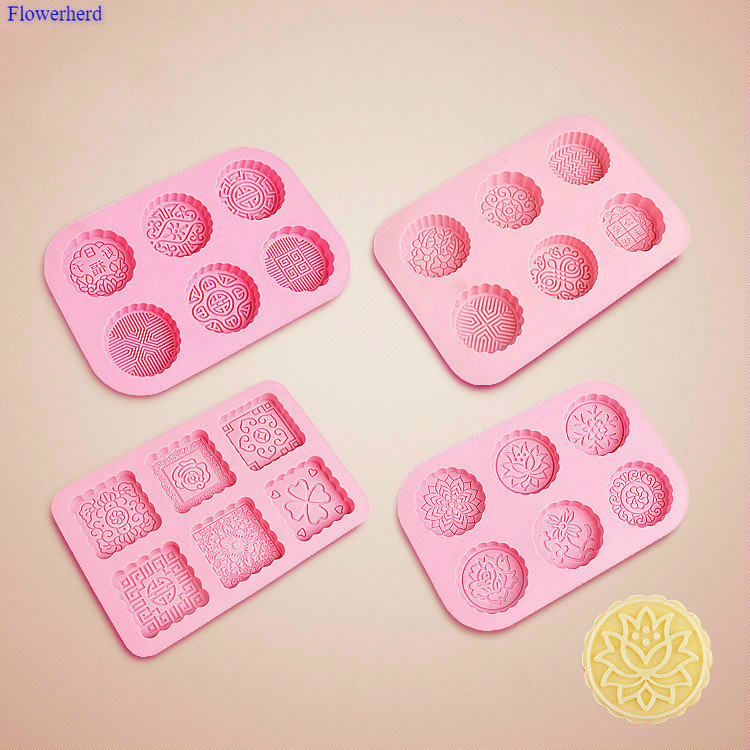 24 Pattern 3D Round & Square 6-Cavity Silicone Soap Mold Fondant Cake Silicone Mold DIY Chocolate Mold Soap Form Cake Decoration