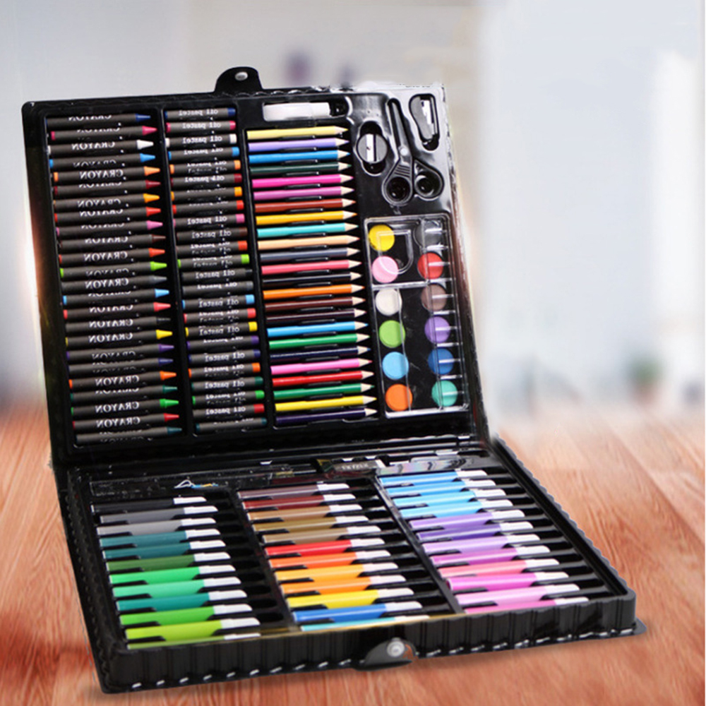 New 150Pcs/Set Kids Art Drawing Painting Tool Marker Pens Wax Crayon Oil Pastel Art Set Gift