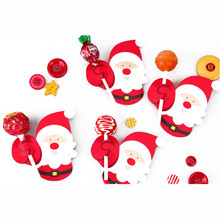 50pcs/set Christmas Snacks Dessert Decor Penguin Santa Claus Lollipop Paper Card Candy Gift Birthday Party
