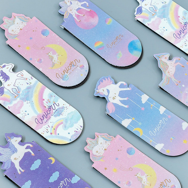 3Pcs/Lot Cute Unicorn Bookmarks Kawaii Metal Bookmarks Magnetic Book Mark For Kids Girls Gifts School Office Supplies Stationery
