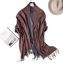 2019 Luxury Cashmere Scarf For Women Solid Tassel Pashmina Hijab Scarfs Female Winter Shawls and Wraps Wool Stoles Head Scarves