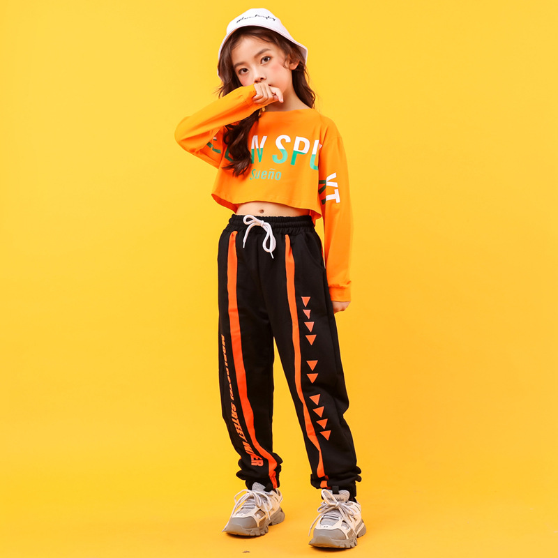 Children Cool Loose Hip Hop Clothing Sweatshirt Short Top Crop Shirt Running Casual Pants For Girls Jazz Dance Costume Clothes