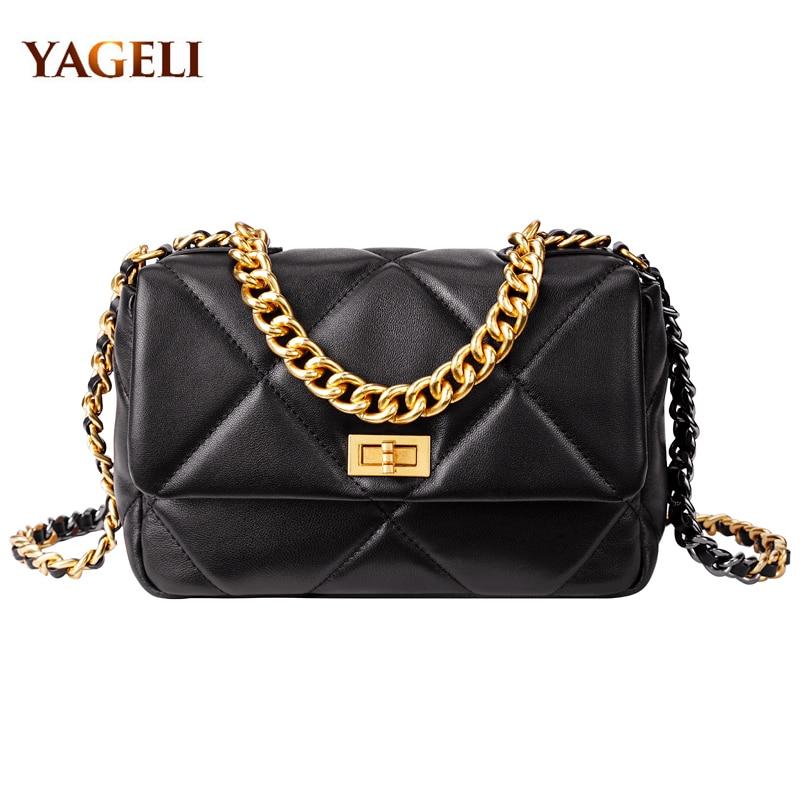 2020 Genuine Leather Chain Shoulder Bags For Women Luxury Handbags Women Bags Designer Fashion Shoulder Messenger Bags For Lady