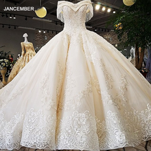 LS54110 2020 Luxury wedding dress sweetheart  ball gown lace up  ivory and champagne bridal wedding gowns long train as photos