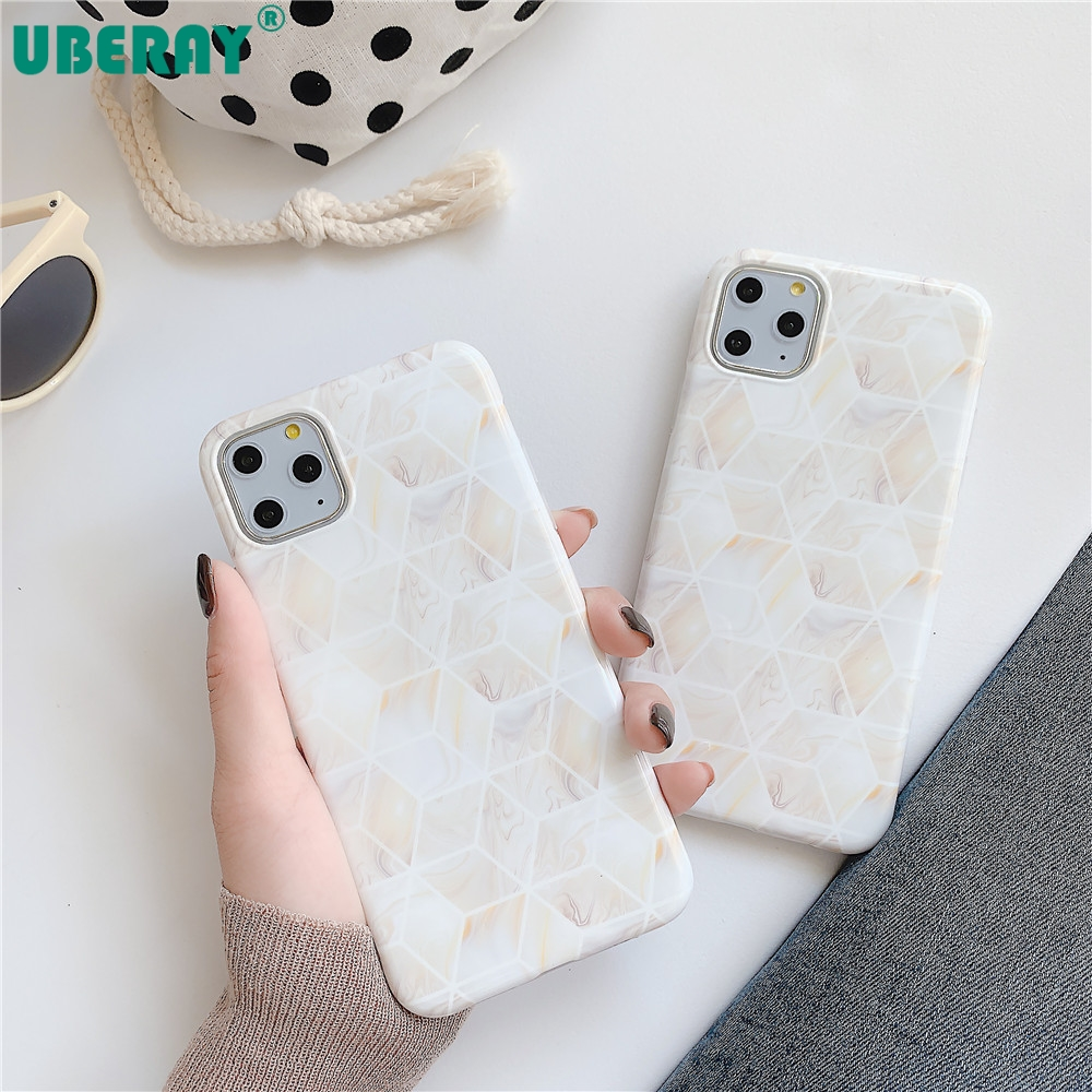 UBERAY Phone Case For iphone 11pro Max 11 XR XS X 8 7 6 6S Plus Case Fashion Marble Cover IMD Soft TPU Silicone Coque Pink Capa