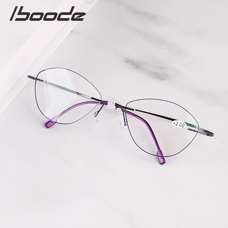 IBOODE Cat Eye Frameless Reading Glasses Women Men Presbyopic Eyeglasses Female Male Rimless Hyperopia Eyewear Unisex Spectacles