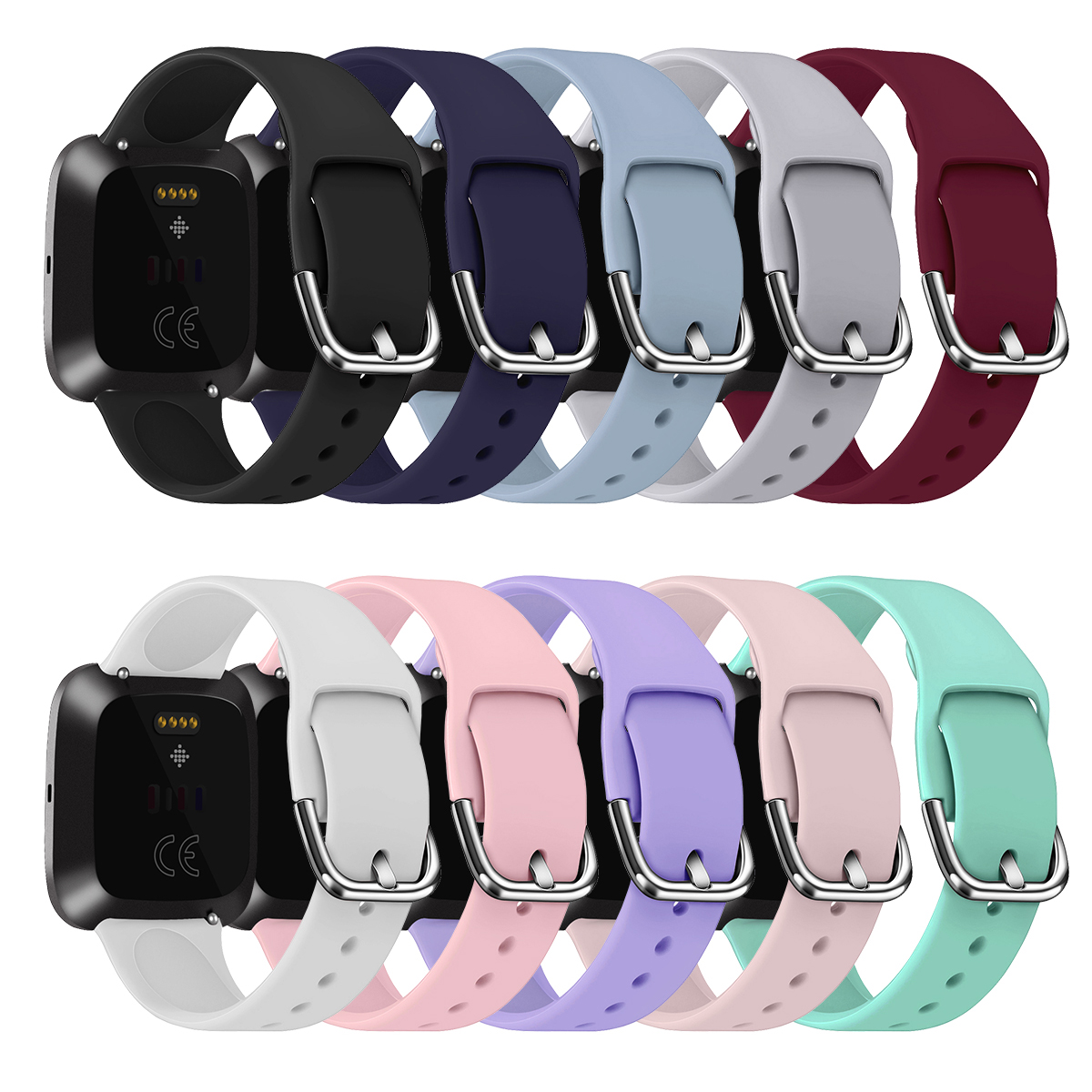 S/L Anti-sweat Sport Watch Wristband New Replacement Silicone Watch Strap Wrist Strap For Fitbit Versa 2 Smart Watch Accessories