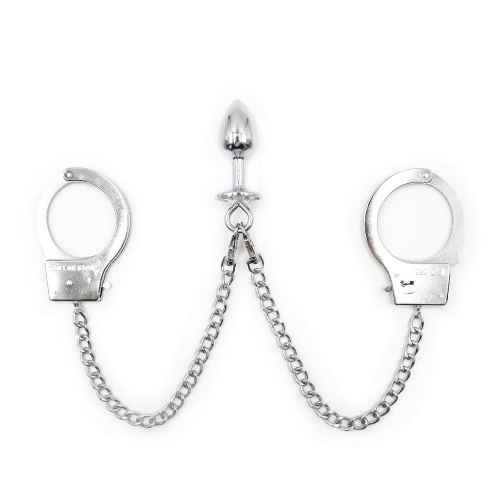 <font><b>BDSM</b></font> Games Handcuffs Anal Plug Butt Plug Slave Fetish Metal Chain Increase Orgasm Adult Products <font><b>Sex</b></font> <font><b>Toys</b></font> for Couple <font><b>Gay</b></font> image
