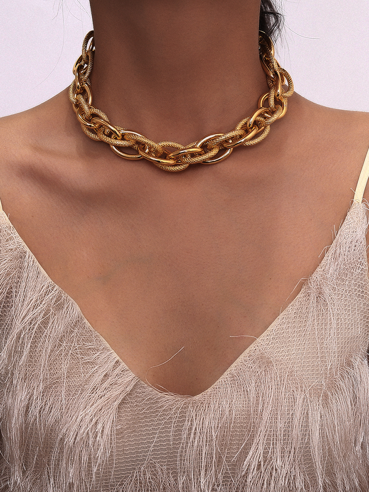 Necklace Pendant Lock Choker Collar Thick Chain Punk Chunky Statement Gold-Color High-Quality