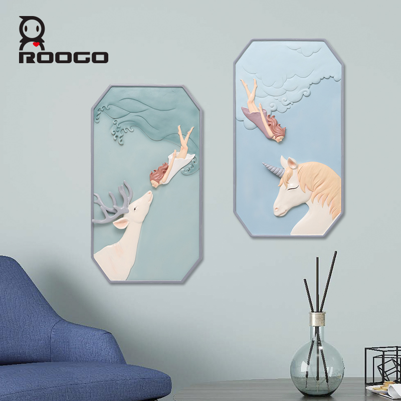Roogo скандинавские сны Девушка настенное украшение для дома аксессуары 3D настенное искусство полимерная для домашнего декора для декора гостиной