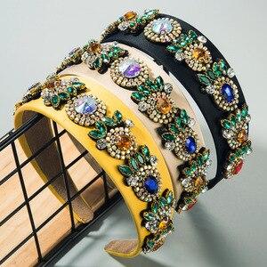 Retro kobiety kryształowe opaski ślubne dla nowożeńców kamień Rhinestone pałąk luksusowe obręcz do włosów Party Lady akcesoria do włosów biżuteria