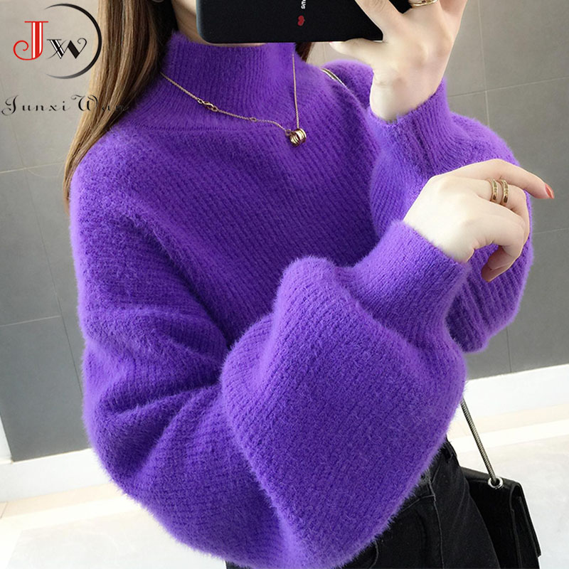 Thick Mohair Women Sweaters Turtleneck Soft Lantern Sleeve Short Pullovers Fashion Autumn Winter Sweater Solid Women Jumpers